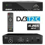 Edision Receptor Digital Terreste TDT DVB-T2 + Cabo DVB-C FullHD H.265 - Proton T265