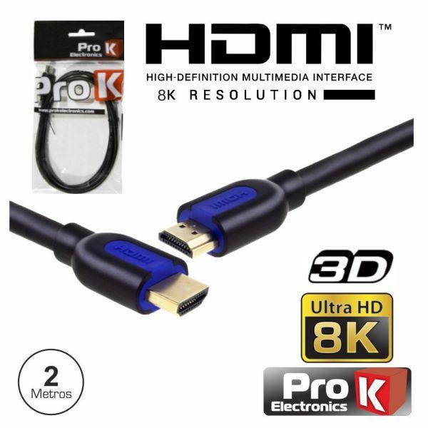 ProK Electronics Cabo Hdmi Dourado Macho / Macho 2.1 8K Preto 2M