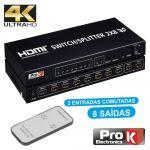ProK Electronics Distribuidor Hdmi Amplificado 2 Entrada e 8 Saídas 4k
