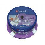 Verbatim DVD+R DL 8.5GB 8x Printable Spindle Pack 25 - 43667