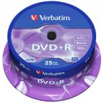Verbatim 4.7GB DVD+R 16x Matt Silver Surface Pack de 25 - 43500