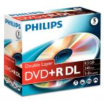 Philips DVD+R Dual Layer 8.5GB 8X Jewell Pack 5