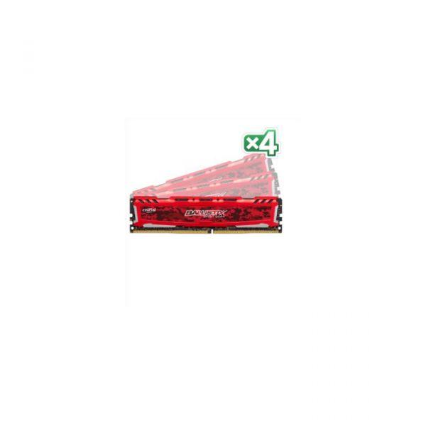 Memória RAM Crucial 16GB Ballistix Sport LT Red DDR4 (4x 4GB) 2400Mhz PC4-19200 CL16 - BLS4C4G4D240FSE