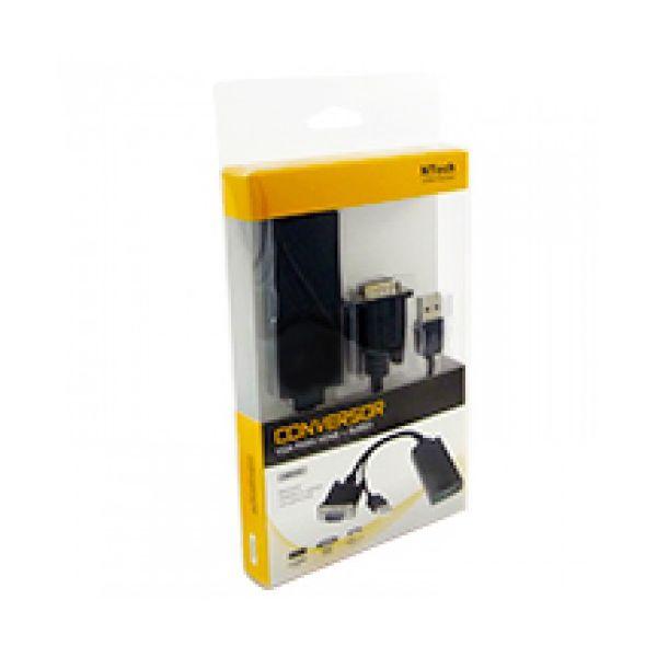 Ntech Adaptador VGA M HDMI F c/ Áudio e Alimentação USB