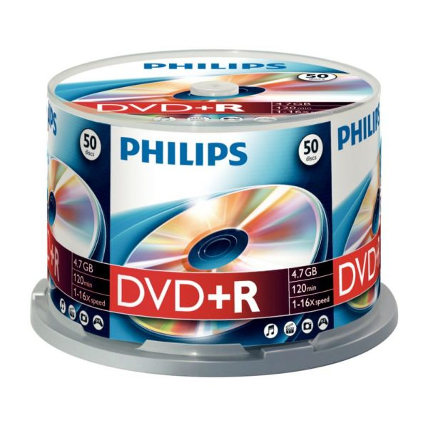Philips DVD+R 4,7GB 16x Cakebox Pack de 50 - DR4S6B50F
