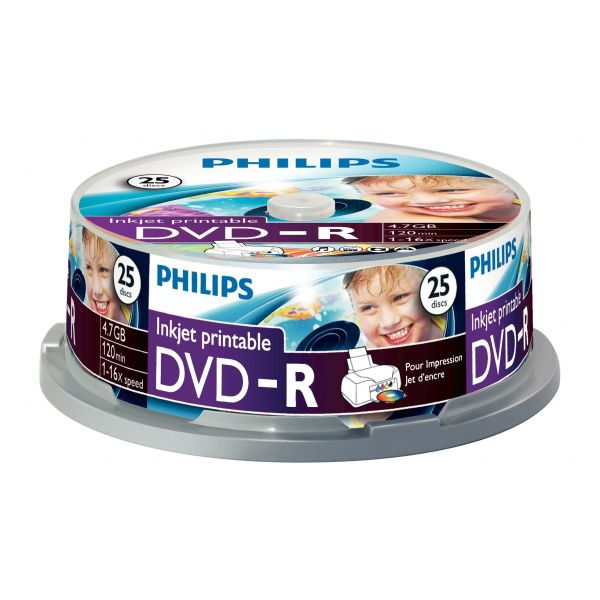 Philips DVD-R 4,7GB 16x Printable mate Cakebox Pack de 25 - DM4I6B25F