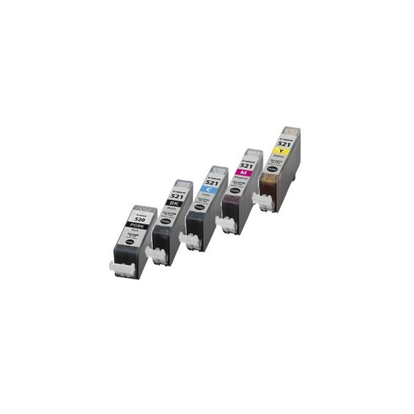 Conjunto 5 Tinteiros Canon Compatíveis PGI-520BK/CLI-521BK/CLI-521C/CLI-521M/CLI-521Y