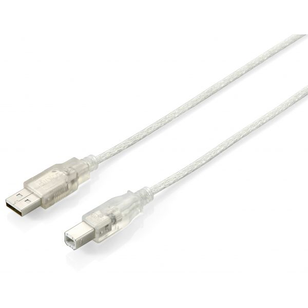 Equip USB 2.0 Cable A->b m/m 1,8m Silver Transparent - 128650