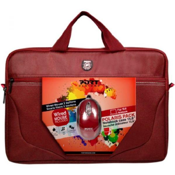 "Port Designs Bundle Bolsa Polaris II 15"" Red + Rato USB - 501770"
