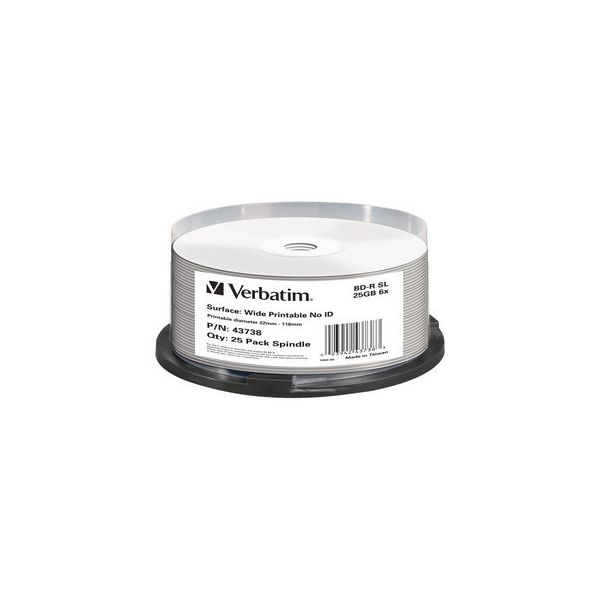 Verbatim Bd-r Blu-ray 25gb 6x Speed Wide Printable Pack 25