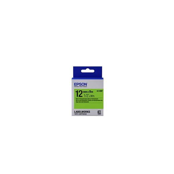 Epson LK-4GBF Black on Flurescent Green C53S654018