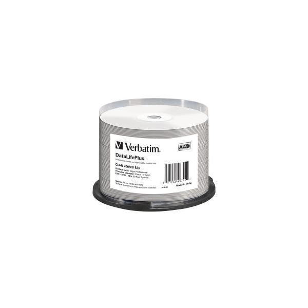 Verbatim Cd-r 80 / 700mb 52x White Wide Printable Cake 50 - 43745