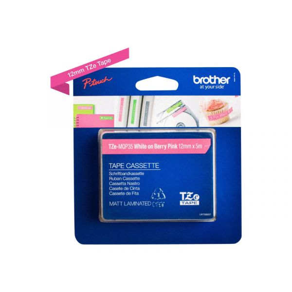 Brother P-Touch 12mm Branco / Rosa - TZE-MQP35
