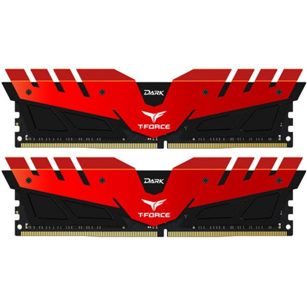 Memória RAM Team Group 8GB T-Force Dark (2 x 4GB) DDR4 2400MHz PC4-19200 Red - TDRED48G2400HC14DC01