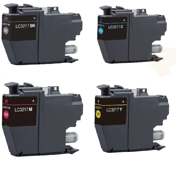 Conjunto Tinteiros Brother LC3217 Color + Black LC3217BKCMY Compatíveis