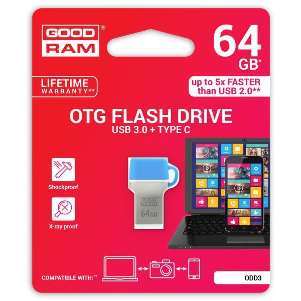 Goodram 64GB Dual Drive Type C USB 3.0 - ODD3-0640B0R11