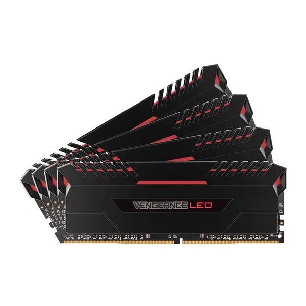 Memória RAM Corsair 64GB Vengeance LED (4x 16GB) DDR4 2666MHz PC4-21300 CL16 Red - CMU64GX4M4A2666C16R