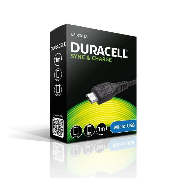 Duracell Sync and Charge Cable with Micro USB USB5013A 1m