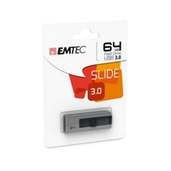 Emtec 64GB B250 Slide USB 3.0 (3.1 Gen 1) Type-A Grey - ECMMD64GB253