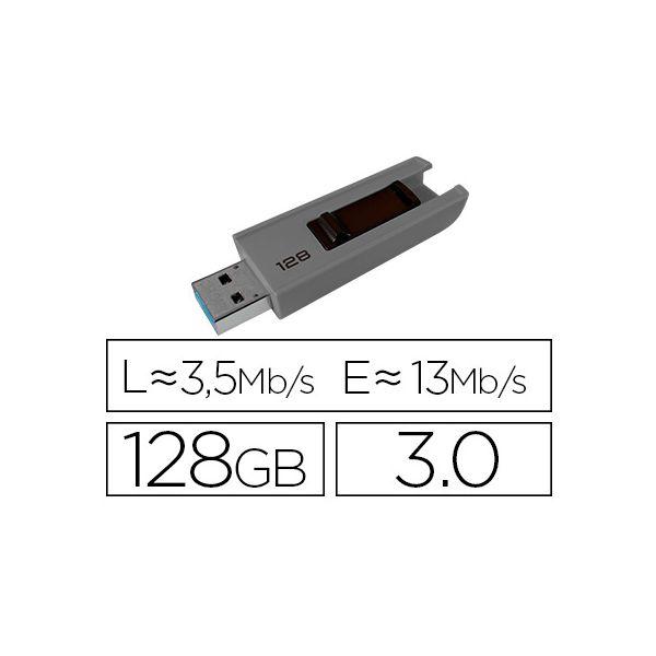 Emtec 128GB B250 Slide USB 3.0 (3.1 Gen 1) Type-A Grey - ECMMD128GB253