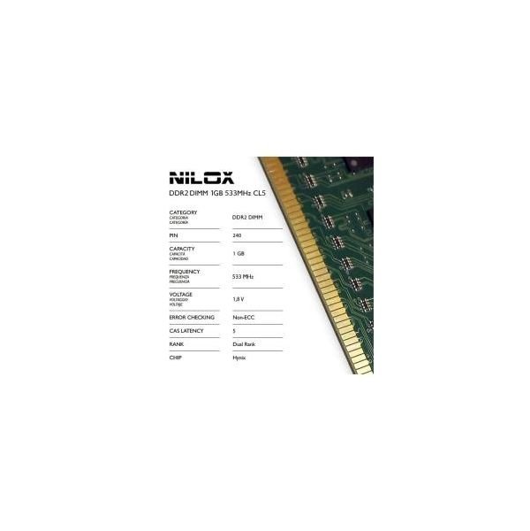 Memória RAM Nilox 1GB DDR2 533MHz PC2-4200 CL5 - NXD1533H1C5