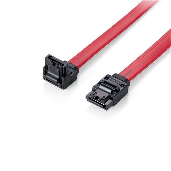 Equip Flat cable SATA 6GBPS, 1,0M W. metal latch, with 1 x angled plug - 111903