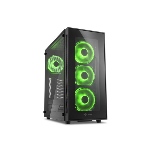 Sharkoon TG5 LED Window Black/Green - 4044951020577