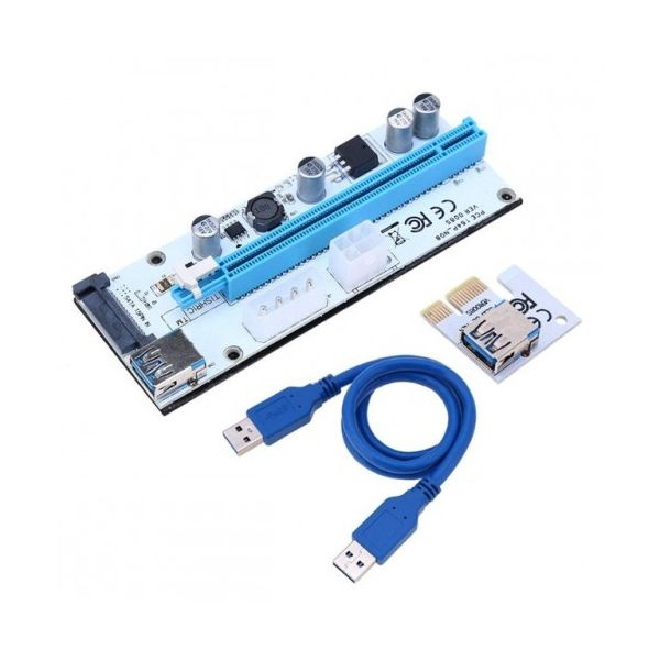 PCIe Riser 1x - 16x USB 3.0 Versão 8 c/ 50cm