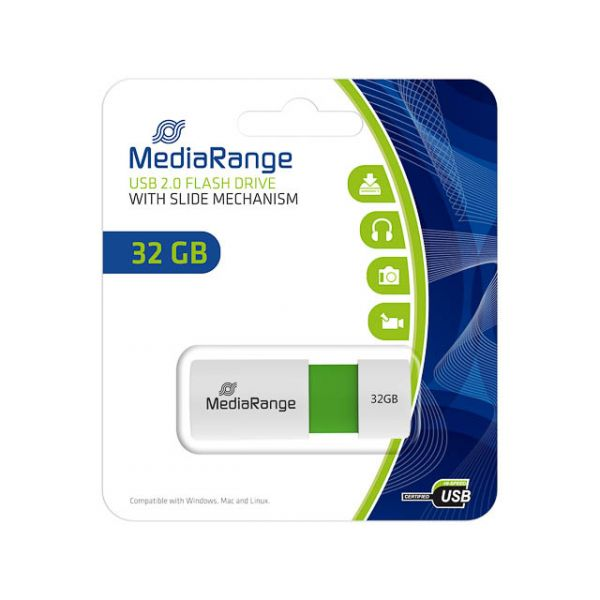 Mediarange 32GB with Slide Mechanism Green USB 2.0 - MR973
