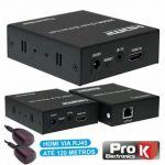 Receptor e Transmissor Prok HDmi Via Rj45 Cat5/6 120M com Ir