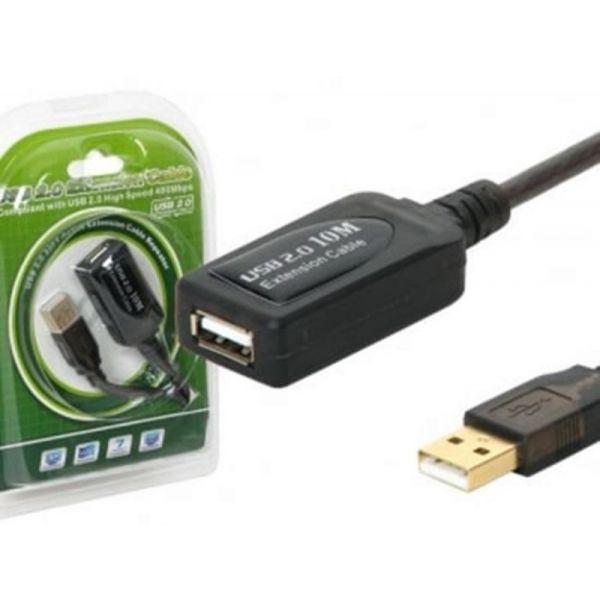 Cabo Extensão USB 2.0 Tipo A/A Macho/Fêmea C/ Repetidor 10m