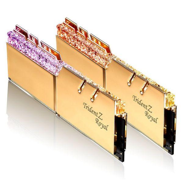 Memória RAM G.Skill 16GB Trident Z Royal RGB 2x 8GB DDR4-4000MHz CL18 Gold F4-4000C18D-16GTRG