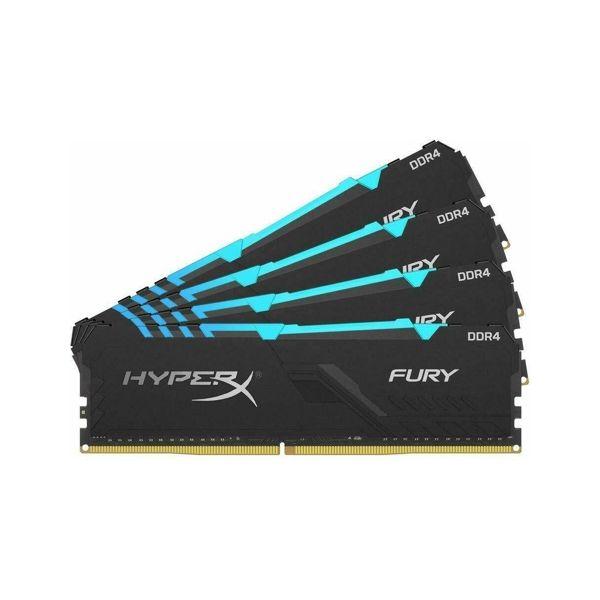 Memória RAM Kingston 32GB HyperX Fury RGB (4x8GB )DDR4 3200Mhz PC-25600 CL16 - HX432C16FB3AK4/32