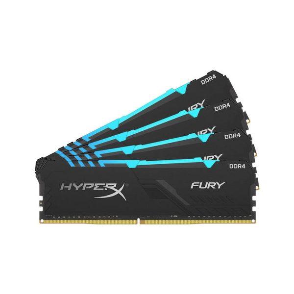 Memória RAM Kingston 32GB HyperX Fury RGB (4x8GB) DDR4 3466Mhz PC-27700 CL16 - HX434C16FB3AK4/32