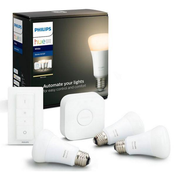 Philips Kit Hue Bridge + 3 Lâmpadas LED E27 9W White + Comando