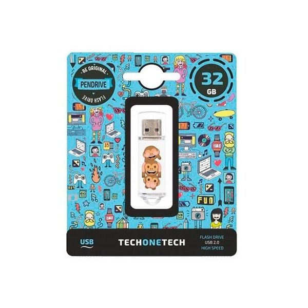 Tech One Pendrive 32GB No Evil Monkey - 10484
