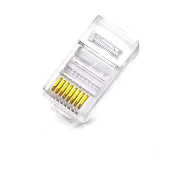 WP Rack Cat. 6 UTP wire through modular plug for solid round cable, RJ45, 8P8C, gold plating Pack 10 unid. - WPC-MDP-883-6UP-R50T