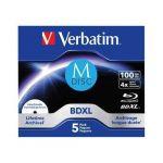 Verbatim M-Disc BD-R Blu-Ray 100GB 4x Speed inkjet print. JC Pack 5un - 43834