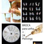 Pack de 24 Piercings e Broca para Unhas