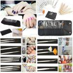 Bolsa Nail Art com 15 Pincéis e 5 Dotting Pens