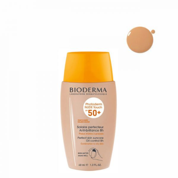 Protetor Solar Bioderma Photoderm Nude Touch Fluido Tom Dourado SPF50+ 40ml