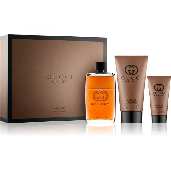 247c2468bac35 Gucci Guilty Absolute Man EDP 90ml + After Shave Balm 50ml + Shower Gel  150ml Coffret