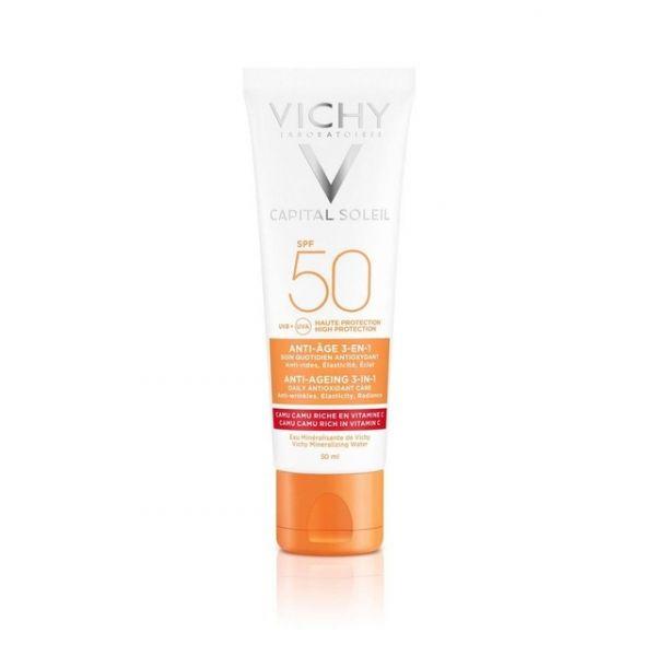 Protetor Solar Vichy Ideal Soleil Anti-Idade 3 em 1 SPF50 50ml