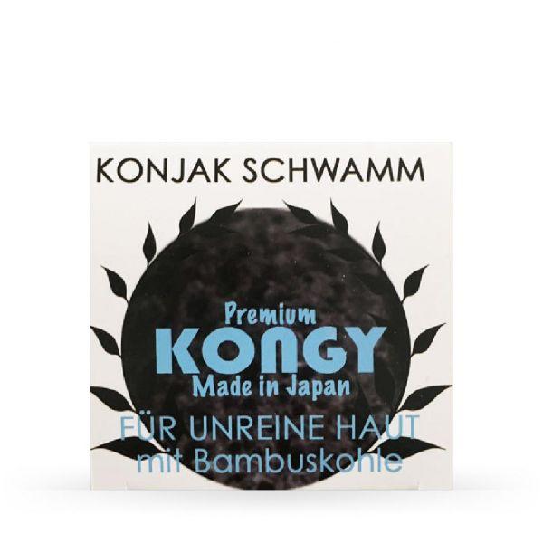Kongy Esponja Konjac Premium Carvão Ativado (Pele Oleosa/Acneica) 4g