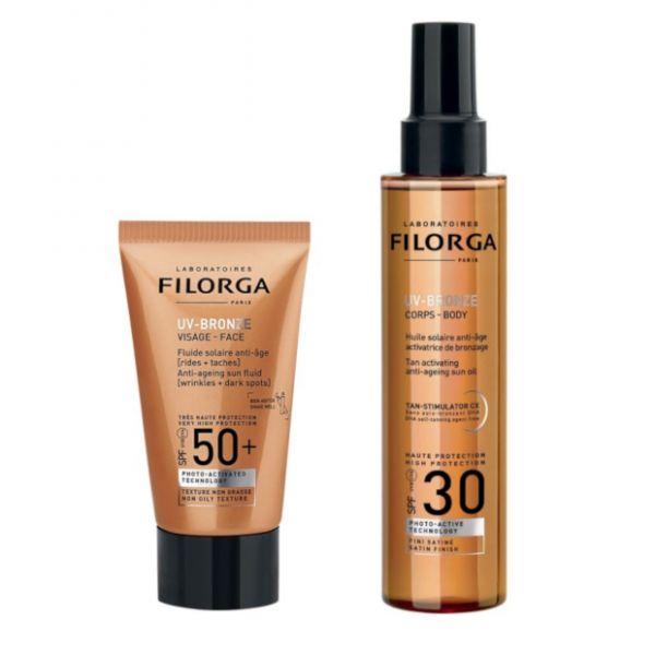Protetor Solar Filorga Pack UV-Bronze Face FPS50+ 40ml + UV-Bronze Corpo SPF30 150mL