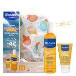 Protetor Solar Mustela Solar Pack Spray Solar Corpo SPF50+ 200ml + Leite Solar Rosto SPF50+ 40ml + Mochila