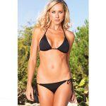Leg Avenue Spandex Bikini Set With Wide Side Ties Black 72823
