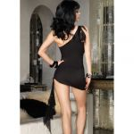 Leg Avenue Asymmetrical Sequin Mini Dress With Attached O-ring Scarf 71052