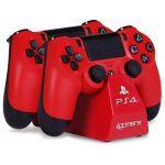 4Gamers Carregador de Comandos DualShock 4 Red PS4