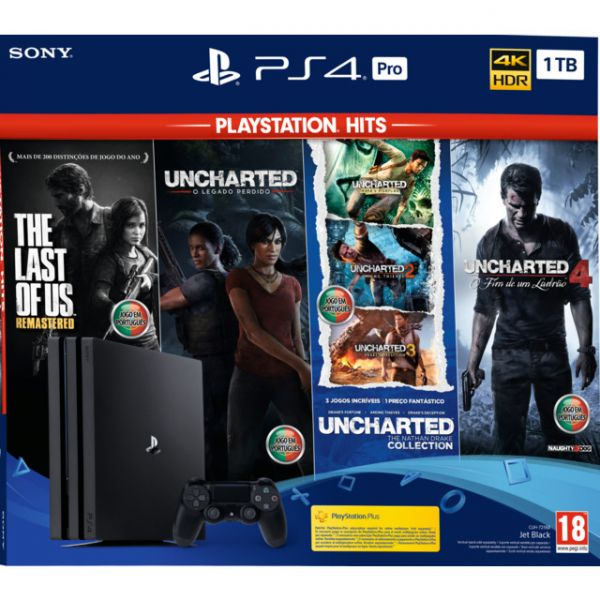 Consola Sony PlayStation 4 PS4 Pro 1TB Playstation Hits Uncharted Colection + The Last of Us